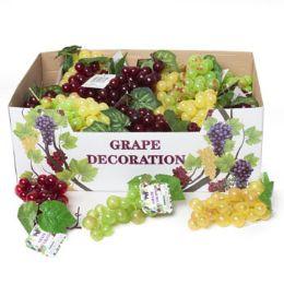48 Wholesale Grape Decor 36pc Cluster 3ast