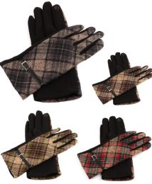 36 Units of Women Plaid Winter Glove With Belt Design - Winter Gloves