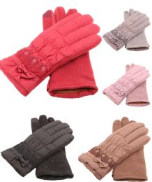 36 Units of Women's Winter Glove Warm Plush Lining Mitten With Small Bow Design - Winter Gloves