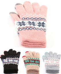 36 Units of Kids Assorted Warm Snowflake Glove - Kids Winter Gloves