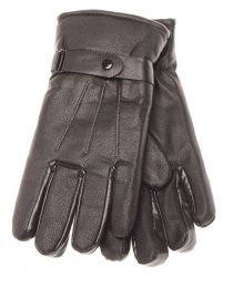 36 Bulk Mens Leather Winter Gloves With Snap Design