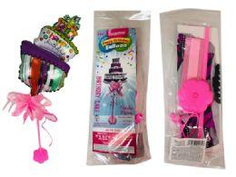 144 Wholesale Happy Birthday Cake Balloon W/ Stand W/ Bow 2asst