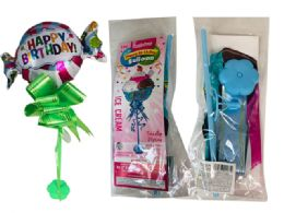 144 Wholesale Happy Birthday Balloon W/ Stand W/ Bow 2asst