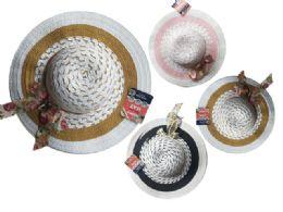 144 Wholesale Women's 2-Tone Hat W/ Ribbon 40cm Dia 4asst Clr