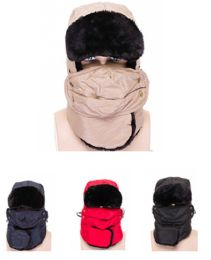 72 Units of Hooded Hat with Face Covering and Faux Fur - Winter Beanie Hats