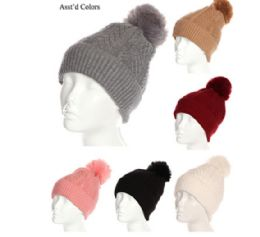 72 Units of Ladies Solid Color Beanies with Pom Pom - Winter Hats
