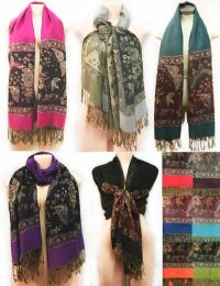 24 Units of Large Butterfly with Fringes Pashmina Scarves Assorted - Winter Pashminas and Ponchos