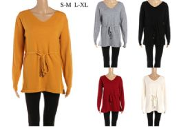 24 Units of Women's Long Sleeve Tie Front Sweater - Womens Sweaters & Cardigan