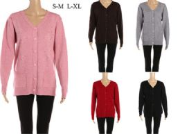 24 Units of Women's Long Sleeve Buttoned Cardigan - Womens Sweaters & Cardigan