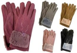 12 Units of Lady Fashion Winter Glove Faux Fur & Embroidery - Winter Gloves