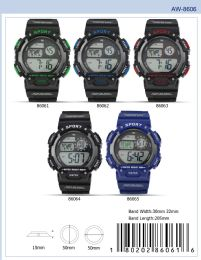 12 Wholesale Digital Watch - 86063 assorted colors