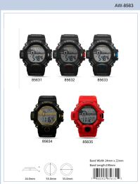 12 Wholesale Digital Watch - 85631 assorted colors