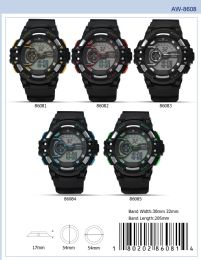12 Wholesale Digital Watch - 86081 assorted colors