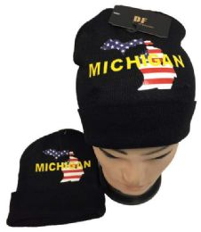 12 Units of Michigan Winter Beanie Hat - Winter Beanie Hats