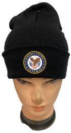 48 Wholesale United States Veteran Black Winter Beanie