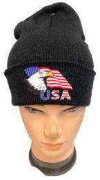 48 Units of Black color Winter Beanie Eagle USA Flag - Winter Beanie Hats