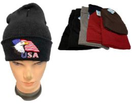 48 Units of Assorted color Winter Beanie Eagle USA Flag - Winter Beanie Hats