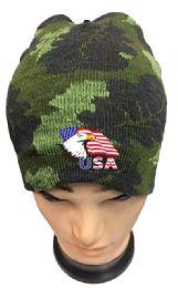 48 Units of Camo color Winter Beanie Eagle USA Flag - Winter Beanie Hats