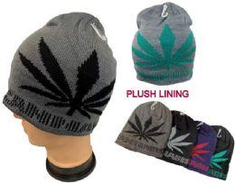 48 Units of Plush-Lined Knit Beanie Marijuana-Large Leaf - Winter Beanie Hats