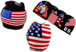 24 Units of Knitted Beanie Americana Flag styles - Winter Beanie Hats