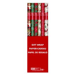 60 Units of CHRISTMAS GIFT WRAP 25 SQ FT/30X10 TRADITIONAL DESIGNS - Christmas Gift Bags and Boxes