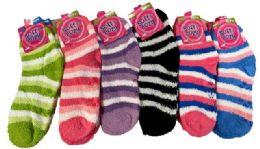 12 Units of Lady Fuzzy with Anti Skid - Womens Fuzzy Socks