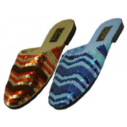 24 Units of Women's Sequin Sandal Assorted Blue And Gold - Women's Sandals
