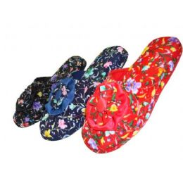 48 Wholesale Girls' Satin Floral Slippers