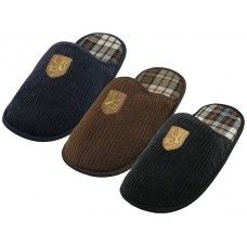 36 Units of Men's Cotton Corduroy With Embroidery Upper House Slippers - Men's Slippers