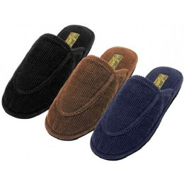 48 Units of Men's Cotton Corduroy Upper Close Toe House Slippers - Men's Slippers