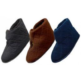 36 Units of Men's Corduroy Velcro Wrap Bedroom Boots - Men's Slippers