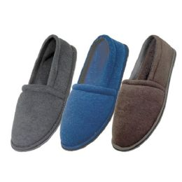 48 Units of Men's Cotton Terry Upper Close Toe And Close Back House Shoes - Men's Slippers