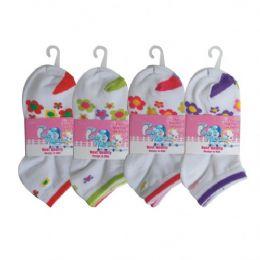 48 Bulk 3 Pair Girls Flower Ankle Socks Size 4-6 Assorted Colors