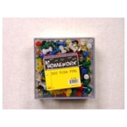 48 Bulk Push Pins - 300ct.- Asst. Cls - Plastic Boxed