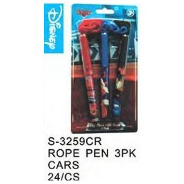 96 Bulk Cars Pens On A Rope 3 Pack