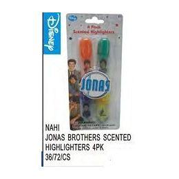 72 Bulk Jonas Bros Scented Highlighters 4 Pack
