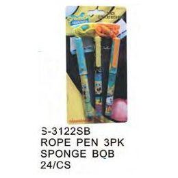 96 Bulk Spongebob Pens On A Rope 3 Pack