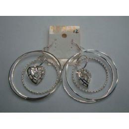 72 Units of EarringS-3 Hoop With Heart Charm - Earrings