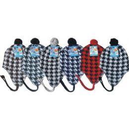 96 Units of Hounds Tooth Print Fleece Winter Hat - Winter Helmet Hats