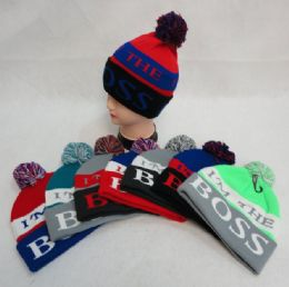 48 Units of Knit Hat with PomPom I'm the Boss - Winter Sets Scarves , Hats & Gloves