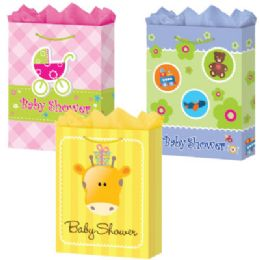 "72 Units of Baby Shower 4 Asst. X-Jumbo 16"" X 19.25"" X 7.5"" - Gift Bags Baby"