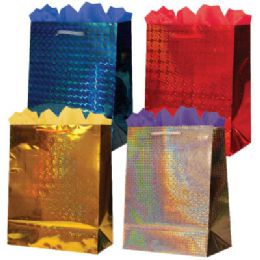144 Units of GifT-Bag Jumbo Hologram 4 Colors - Gift Bags Hologram