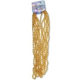 """120 Units of Festive Beads - 33"""" Gold - 6 ct - Party Favors"""