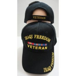 24 Units of Iraqi Freedom Veteran Hat Black Only - Military Caps