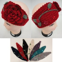 48 Units of Hand Knitted Ear BanD--Flower & Leaves - Ear Warmers