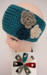 48 Bulk Hand Knitted Ear BanD--Multi & Flower