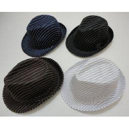 48 Units of Fedora Hat-Pinstripes - Fedoras, Driver Caps & Visor