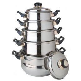 4 Units of 10 Pc Stainless Steel Cooking Set With Lids - Stainless Steel Cookware