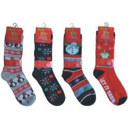 144 Bulk Crew Christmas Socks