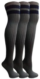 3 of Socksnbulk Womens Over The Knee Socks, 3 Pairs Soft, Cotton Colorful Patterned (3 Pair Gray Combo)